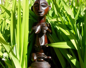 LOOK! Hemba Ceremonial Gourd Pipe With Carved Wood Figure African Tribal D.R. Congo/Zaire *2