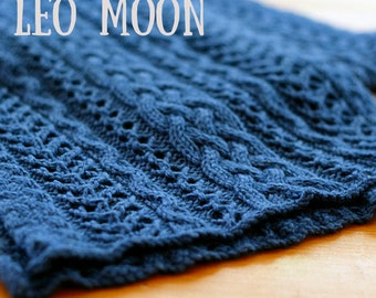 Leo Moon Cable Scarf Knit Pattern PDF