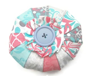 Multi-colored Pinwheel Circle Ruffled Pincushion | ruffle pincushion | pink, blue, white, gray pincushion | button pincushion