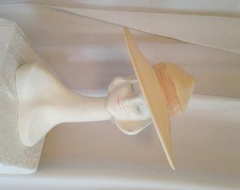 Vintage Straw Hat 1950s LONETTE of Los Angeles // SunBonnet //  Ranger Rick // S 21