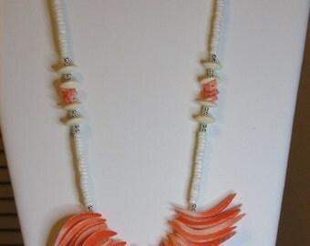 Peach, white, cream shell necklace.