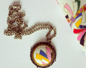 Japanese Fabric Pendant Necklace