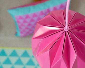 Small Origami Lamp, Fuchsia Pink Hanging Lamp Shade, Origami Paper Lamp, Kids Room Lighting
