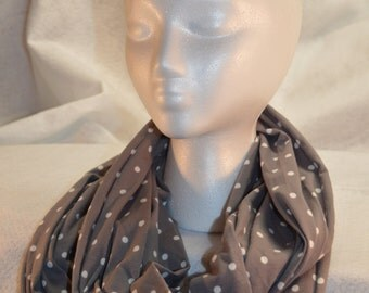 Grey with White Dots - Infinity Scarf