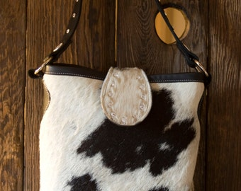 Black and White Cowhide Handbag with Swarovski Crystals