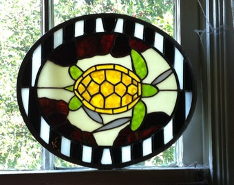 Stained Glass Panel Swimming Turtle