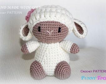 "Toy crochet Pattern ""Cute sheep"" Crochet toys Kids Toy Plush Doll Small Toy Amigurumi Stuffed Toys"