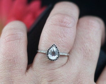 Moissanite Pear Black & White Diamond Halo Engagement Ring 14k White Yellow Rose Gold .77ct 7x5mm Ask About Custom rings