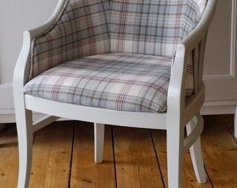 Upcycled Upholstered Chair Check Fabric Bespoke