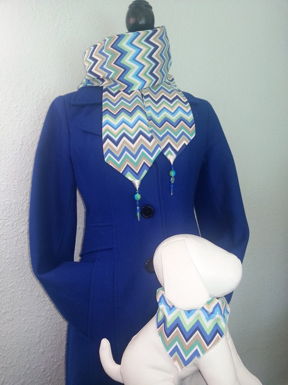Women's blue chevron hand beaded scarf with coordinating earrings and dog collar cover/bandana that slips over your dog's existing collar