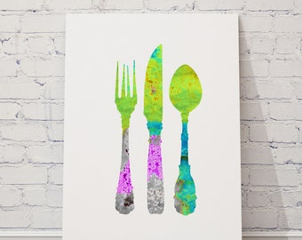 Vintage cutlery, Colorful Fork Spoon Knife, Kitchen utensils, Wall decor,  Colorful cutlery set, Women gifts