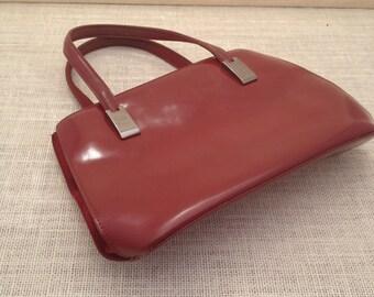 Deep Red Jones New York Patent Leather Vintage Handbag Lots of Pockets