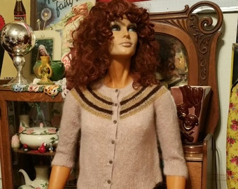 Pretty Vintage Angora Hand Knit Shirt Waist Sweater