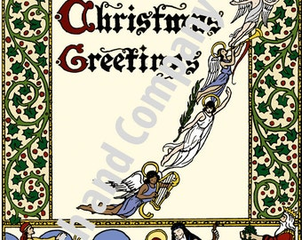 Digital Art Download 1920s illustration Christmas card revised vintage