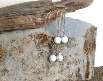 Lily earrings, white dangle earrings, white howlite earrings, minimalist jewelry, lightweight earrings, gemstone earrings, modern earrings