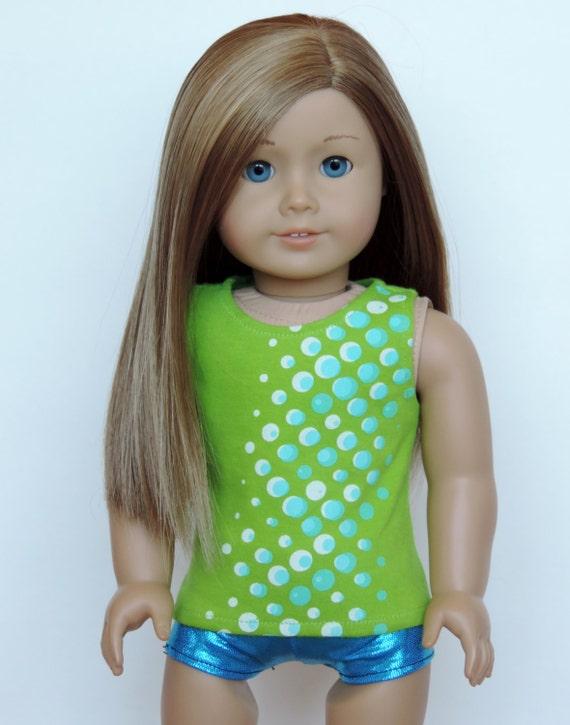 Upcycled Lime Green Graphic Tank Top - American Girl Doll Clothes