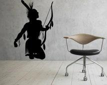 Native American Wall Decal Vinyl Stickers Hunter Archer Art Interior Bedroom Removable Home Decor (2nai)