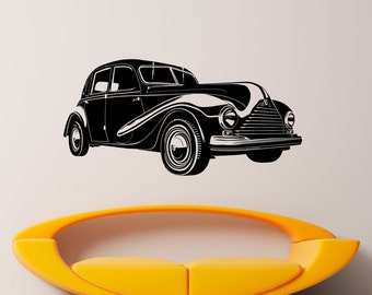 Retro Car Wall Decal Wall Vinyl Sticker Classic Vintage Car Home Interior Removable Bedroom Decor (5rcr)