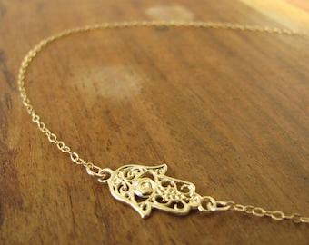 Hamsa necklace, gold necklace, sideways hamsa, gold hamsa necklace, thin delicate, dainty necklace, gold filigree, evil eye necklace