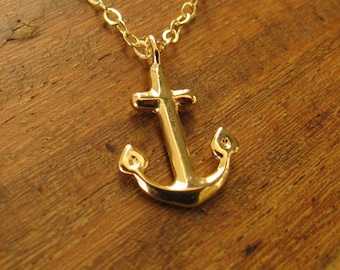 Anchor necklace, gold anchor necklace, nautical necklace, gold filled 14k, anchor charm, anchor pendant, tiny necklace gift
