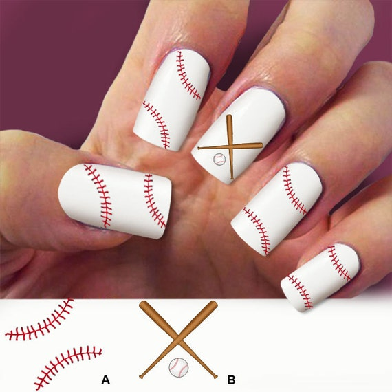 Baseball Nail Art Decals : Items similar to baseball laces nail decals art  - Baseball Nail - Baseball Nail Design Graham Reid