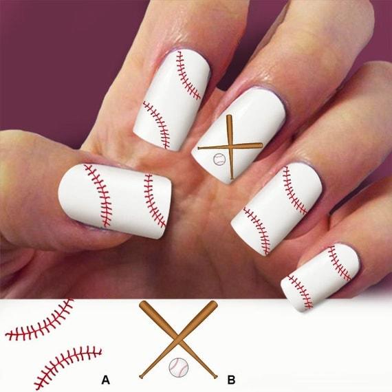 Baseball Nail Art Decals : Items similar to baseball laces nail decals art  - Baseball Nail - Baseball Nails Design Graham Reid