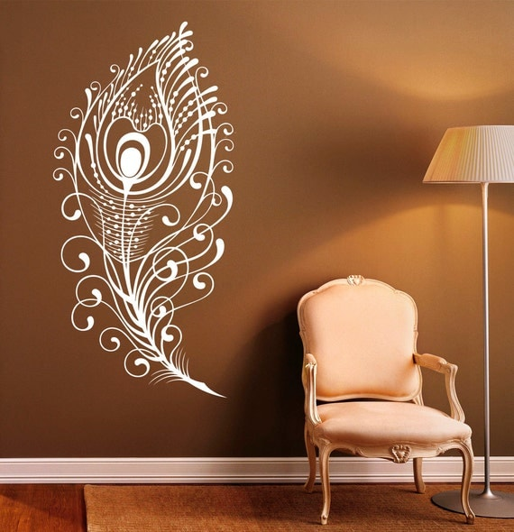 peacock feather wall decal vinyl stickers bird plumage. Black Bedroom Furniture Sets. Home Design Ideas