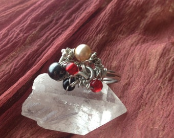 Wire Wrapped Chaotic Collage Ring Size 9