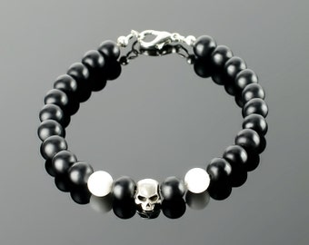 Black onyx bracelet - Mens black onyx bracelet with black gemstones: onyx, lava, silver plated skull beads and 20 colors to choose!