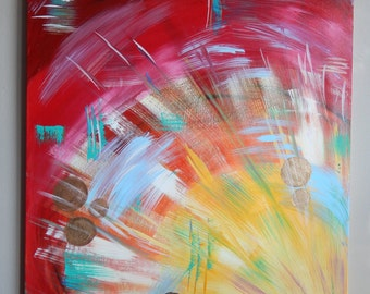 Original  red and yellow abstract painting