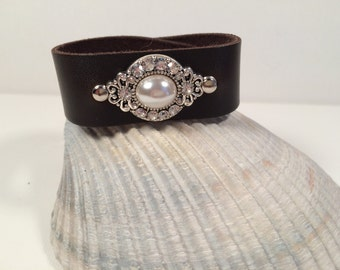 Leather Cuff Bracelet with Rhinestone and Pearl Brooch