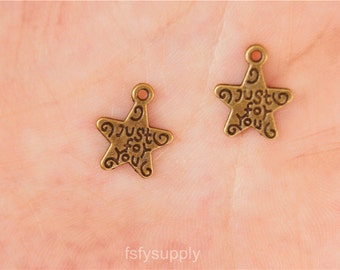 30pcs  11mm Antique Bronze Just For you Pendant,Just For you Drop