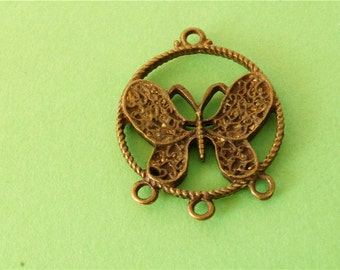 10 pcs of Antique Bronze  butterfly Charms 26mm x 32mm