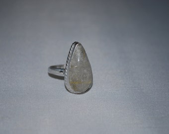 Sterling silver Rutilated quartz ring size 7