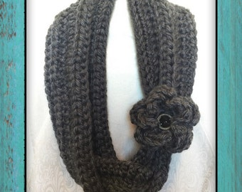 Chunky Crochet Cowl | Infinity Scarf with Flower Cuff