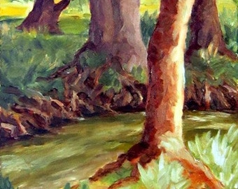 Creek Side Morning, 6 in x 8 in, original oil painting, water, trees