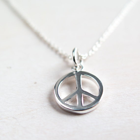 Peace Necklace Silver Peace Sign Necklace Sterling Silver