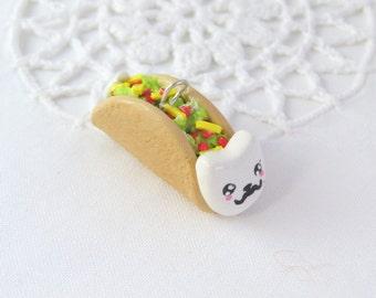 taco cat charm - taco cat key chain - taco cat necklace - kawaii cat - cat charm - polymer clay
