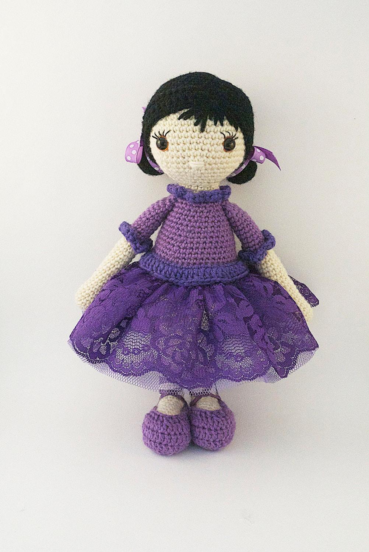 Amigurumi crochet doll Romantic ballerina with purple lace