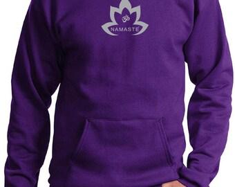 Yoga Clothing For You Men's Hoody Grey Namaste Lotus Hoodie - PC90H-GNLOTUS