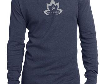 Men's Yoga Shirt Grey Namaste Lotus Thermal Tee T-Shirt = DT118-GNLOTUS