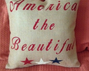 Fourth of July Pillow, Summer Pillow, America Pillow, USA Pillow, Burlap Pillow, Red White and Blue Pillow
