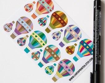 16 hot air balloon stickers, planner stickers, scrapbook sticker, balloon label, eclp filofax happy planner kikkik