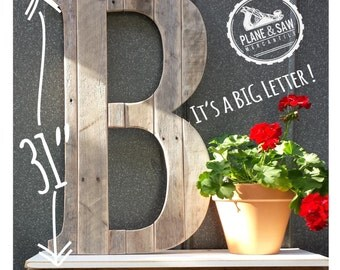 "31"" Tall • Rustic Guest Book Letter B Alternative,Big Wooden Letter,Rustic Wedding,Rustic Wood Letter,Barn Wedding,Reclaimed Wood"