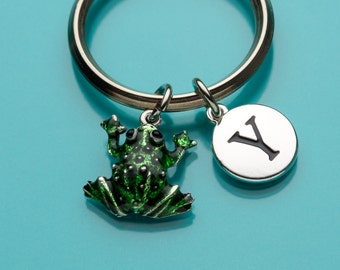 Frog Keychain, Green Frog Key Ring, Animal Charm, Painted Frog, Initial Keychain, Personalized Keychain, Custom Keychain Charm Keychain, 439