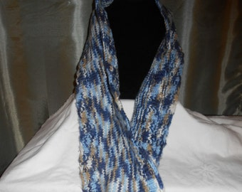 Hand-Knit Variegated Blue Cowl