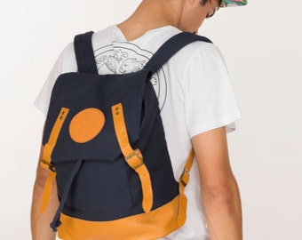 Lizzie Jackson Designs Canvas Backpack in Navy with Genuine Leather Straps and Detailing - Free Shipping to Australia