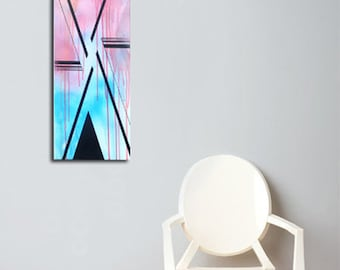 Original Abstract Painting - Airbrush and Acrylic on Canvas - 10 x 30""