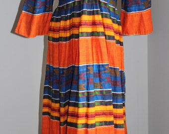 African style long  dress size 42 or 44 cotton Vintage
