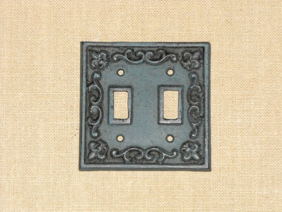 Items similar to blue cast iron doube light switch cover plate on etsy - Wrought iron switch plate covers ...